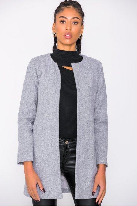 Manteau gris fin mi-long col rond