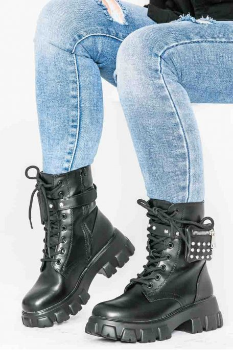 Bottines chunky à poches clous noir