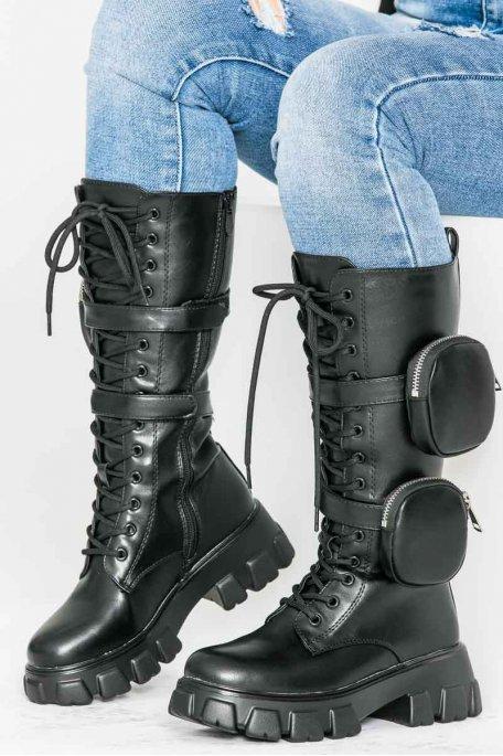 Bottes à lacets chunky poches noir