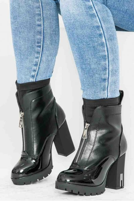 Bottines à talons zip vernies noir