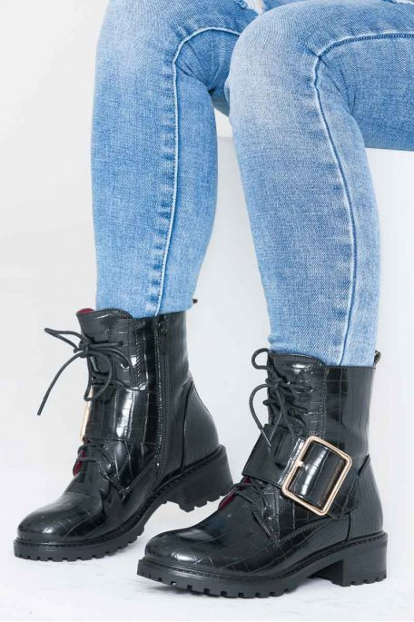 Bottines effet croco sangle noir