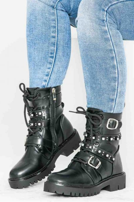 Bottines zip strass noires