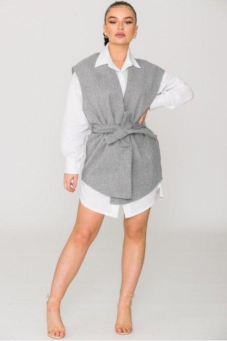 Veste sans manche ceinturée gris