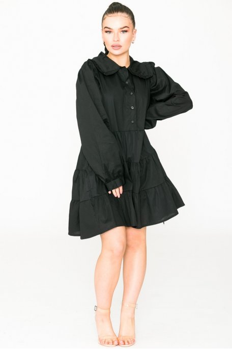 Robe chemise col claudine noire
