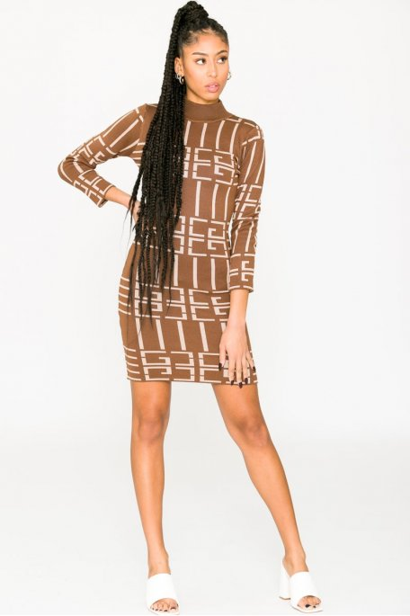 Robe pull midi à motif géométrique camel