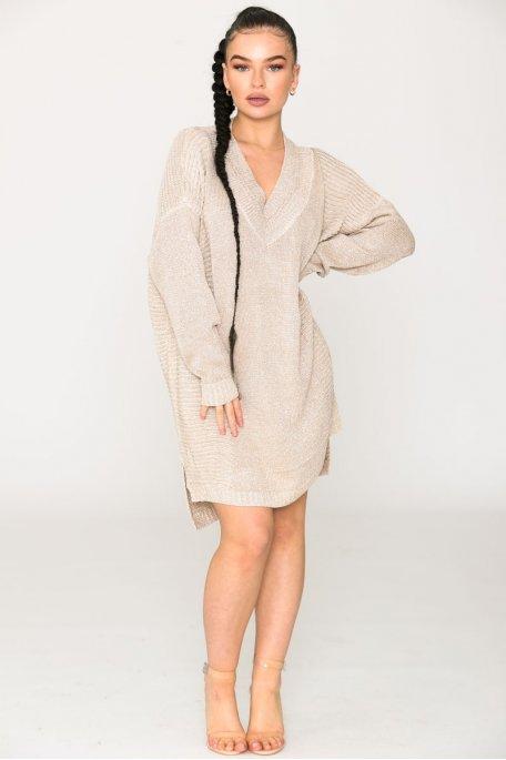Robe pull oversize brillante beige