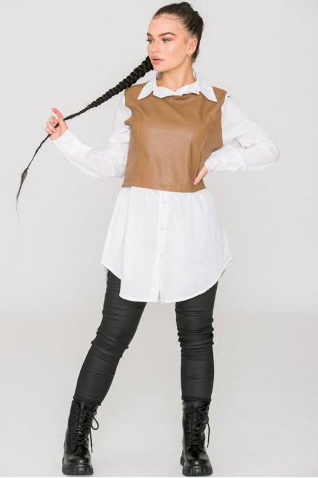 Robe chemise blanche bi-matière camel
