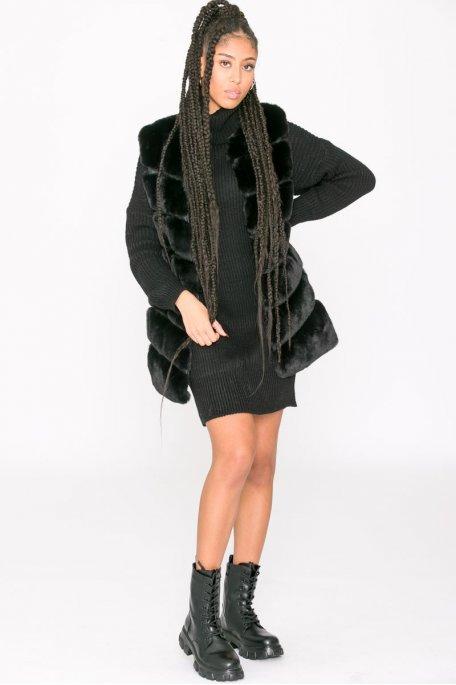 Veste sans manche mi-longue fausse fourrure noir
