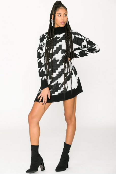 Robe pull col roulé pied-de-coq noire