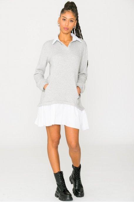 Pull sweat chemise gris