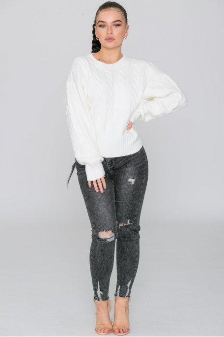 Jean extra taille haute délavé gris foncé