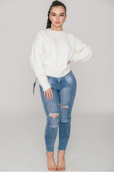 Jean bleu skinny taille haute