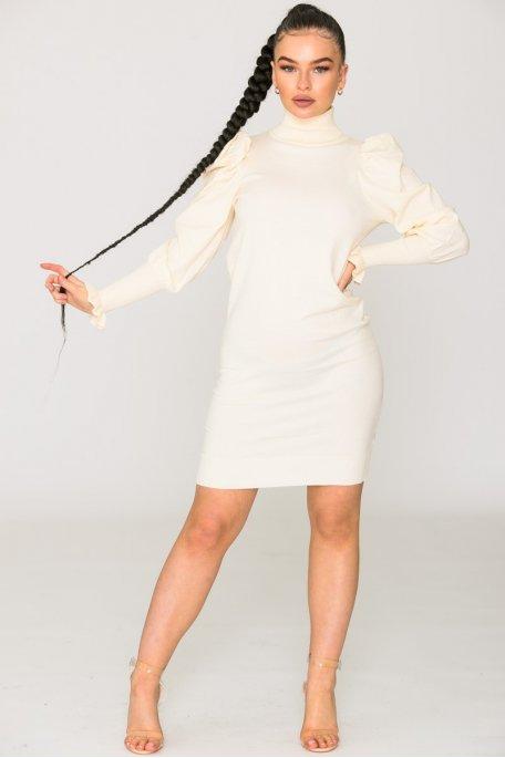 Robe pull col roulé écru