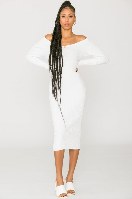 Robe longue moulante col V blanc