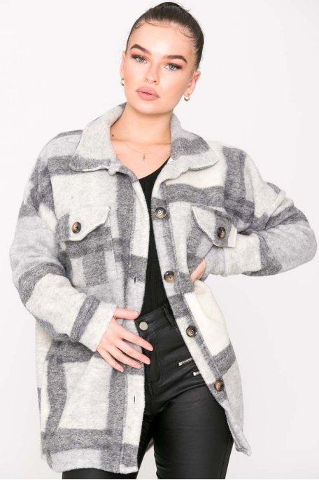 Chemise à carreaux gris clair
