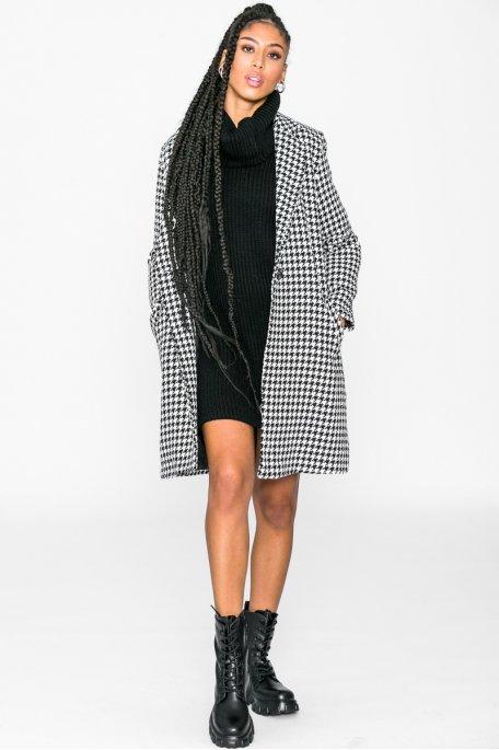 Manteau pied-de-poule noir
