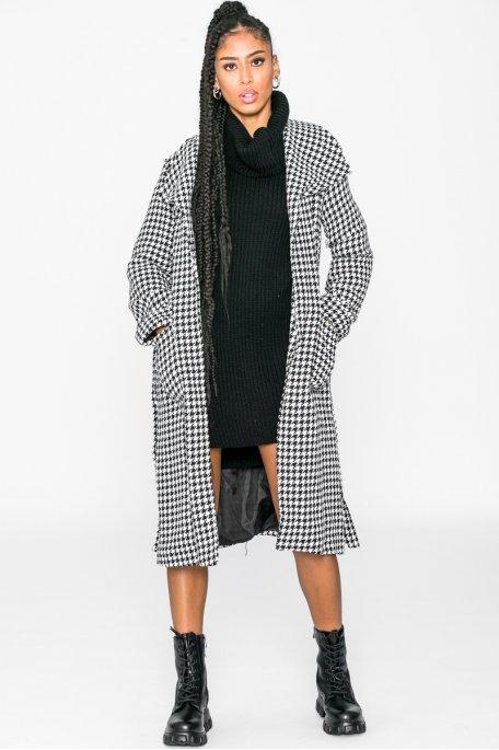 Manteau pied-de-poule ceinture noir