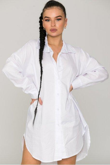 Robe chemise ample blanc