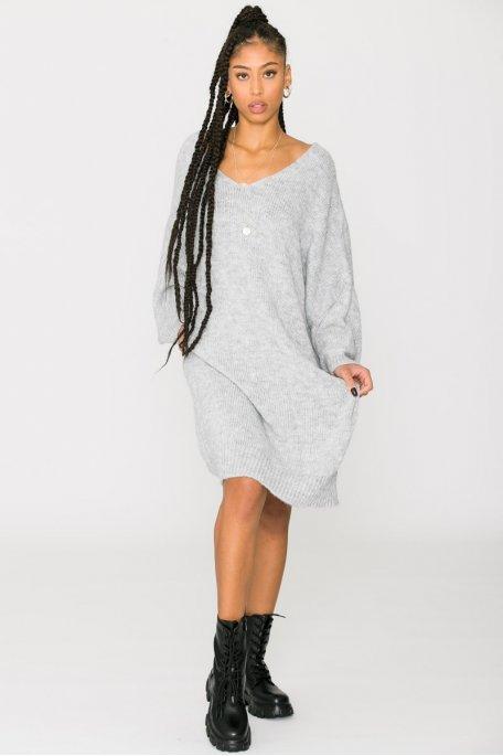 Robe pull longue manches chauve-souris gris