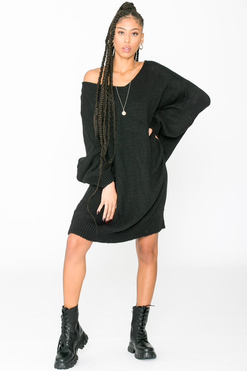 Robe Pull Noire Longue Manches Chauve Souris Cinelle Paris Mode Femme Tendance