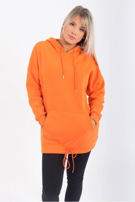 Sweat long à capuche orange