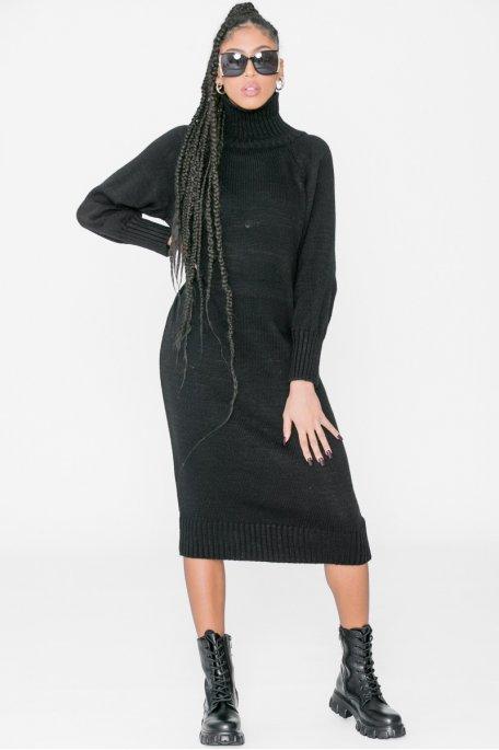 Robe pull longue col roulé noir