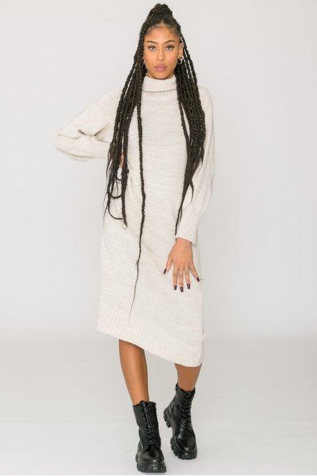 Robe pull longue col roulé beige