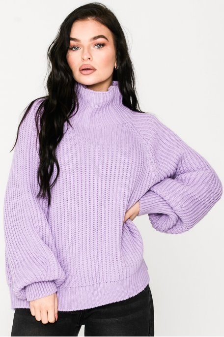 Pull en maille col montant lilas