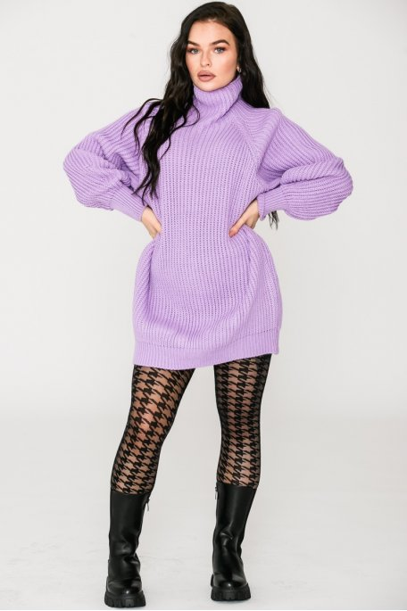 Robe pull en maille col montant lilas