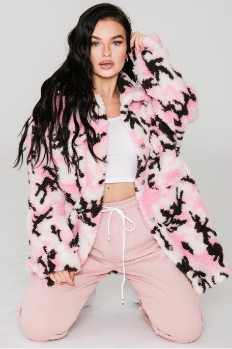 Veste large style teddy à motif rose