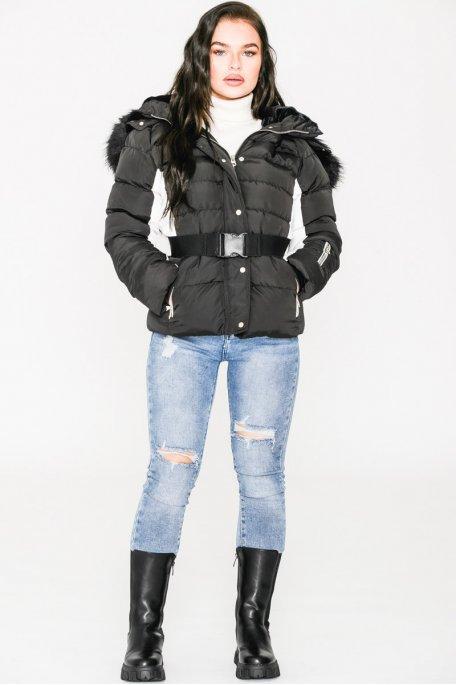 Doudoune noire ceinture fourrure noire