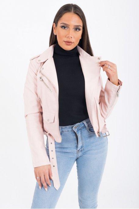 Perfecto basique simili cuir ceinture rose