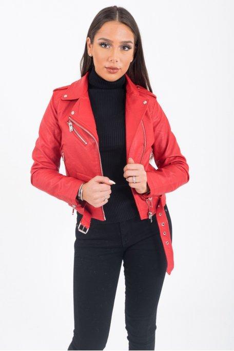Perfecto basique simili cuir ceinture rouge