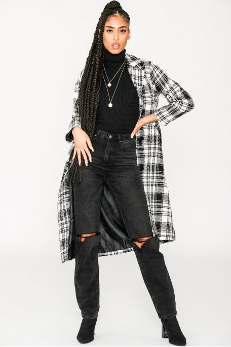 Manteau long en tweed noir