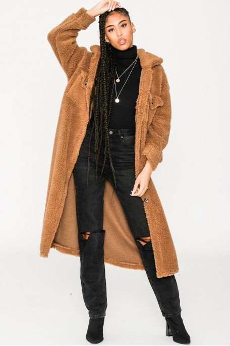 Manteau long fin style teddy camel