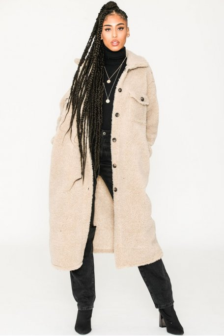Manteau long fin style teddy beige