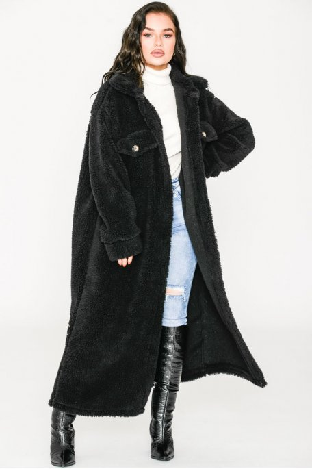 Manteau long fin style teddy noir