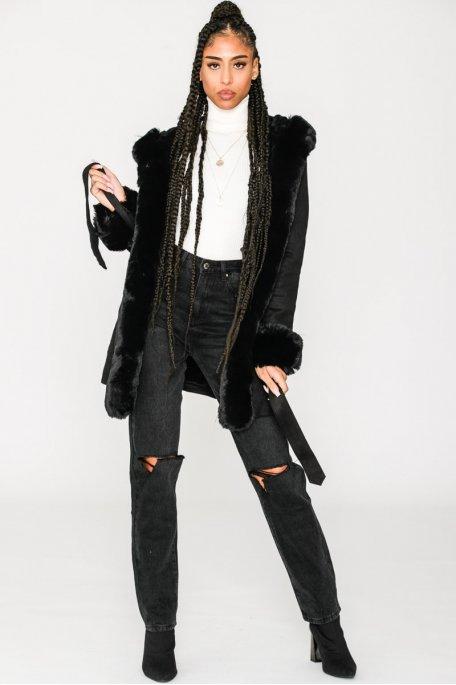 Manteau en suédine et fausse fourrure noir