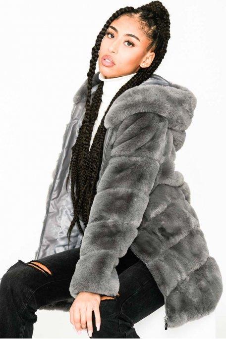 Manteau gris fausse fourrure zippé