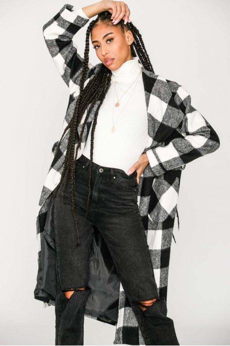 Manteau long à carreaux ceinture noir