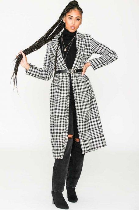 Manteau long motif pied-de-poule ceinturé noir