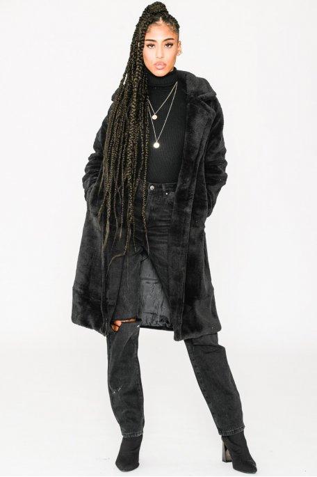 Manteau teddy oversize noir