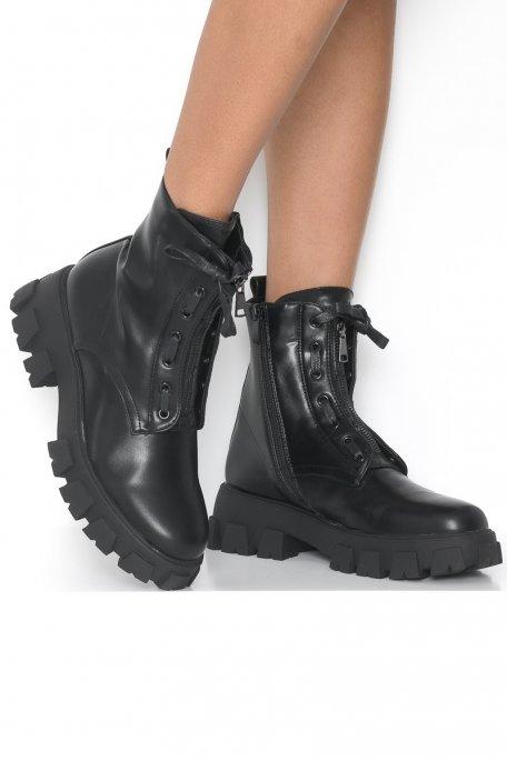 Bottines zip et lacets noir