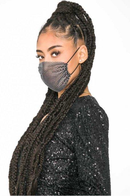Masque noir à strass