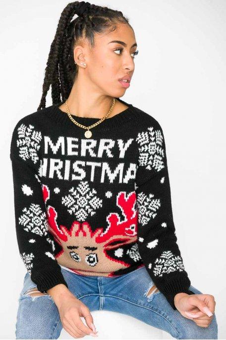 "Pull ""Merry christmas"" noir"