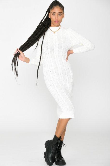 Robe pull longue torsadée col cheminée blanc