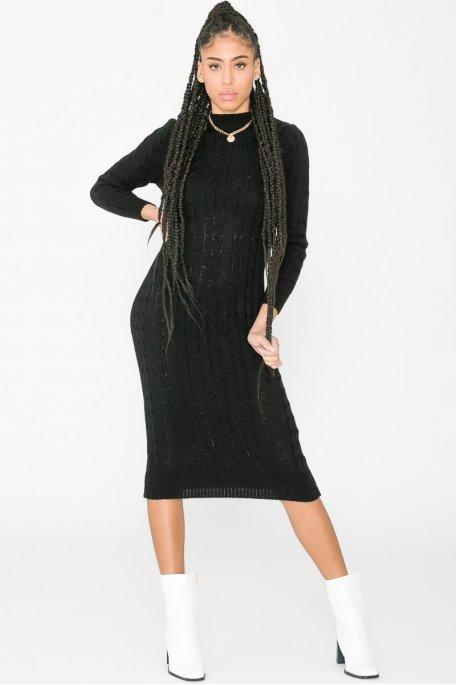 Robe pull longue torsadée col cheminée noir