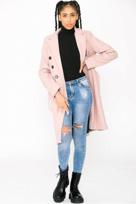 Manteau long classique ceinturé rose
