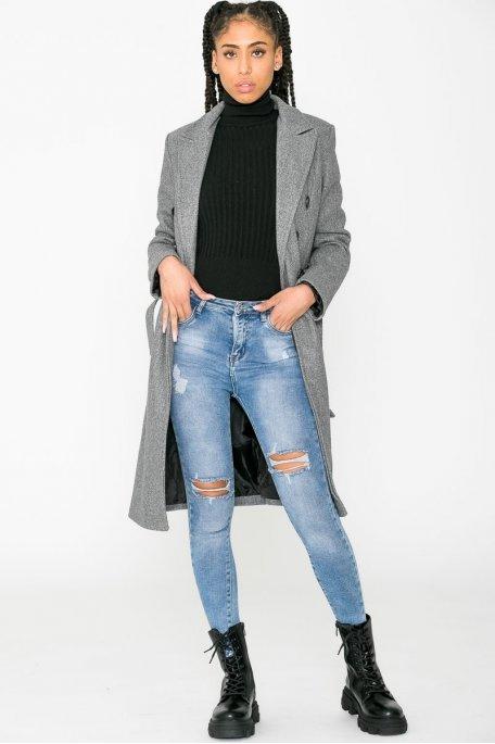 Manteau long classique ceinturé gris