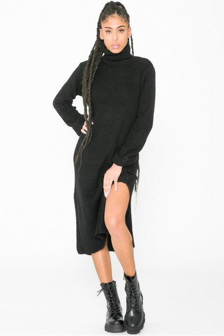 Robe pull longue col roulé fendue noir